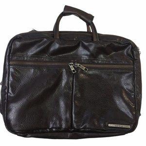 MATT & NAT Vegan Leather Brown/Silver Briefcase